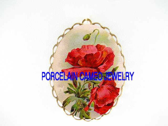 ORIENTAL POPPY POPPIES*  CAMEO PORCELAIN PENDANT/PIN BROOCH