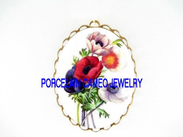 COLORFUL POPPY FLOWER CAMEO PORCELAIN PENDANT PIN