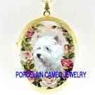 WESTIE WHITE TERRIER DOG ROSE CAMEO PORCELAIN LOCKET