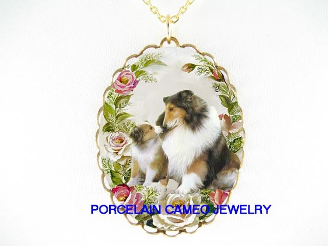 SHELTIE DOG MOM KISS PUPPY ROSE CAMEOPORCELAIN NECKLACE
