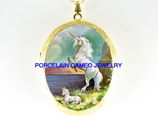 WHITE UNICORN HORSE MOM BABY MARE FOAL*  CAMEO PORCELAIN LOCKET NECKLACE