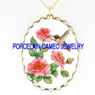 HUMMINGBIRD WITH ROSE*CAMEO PORCELAIN NECKLACE
