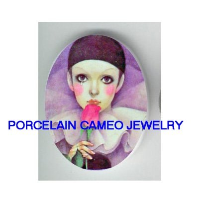 FRENCH PIERROT KISS ROSE UNSET PORCELAIN CAMEO CABOCHON