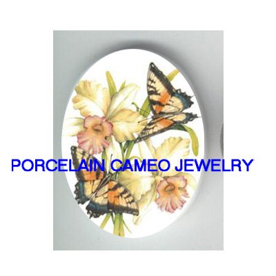 2 BUTTERFLY ORCHID UNSET PORCELAIN CAMEO CABOCHON 30X40