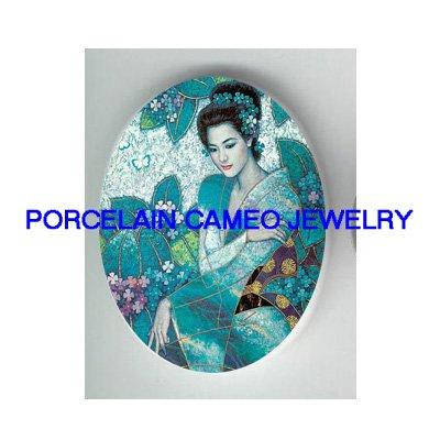 JAPANESE GEISHA KIMONO LADY HYDRANGEA* UNSET CAMEO PORCELAIN CABOCHON