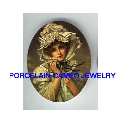 VICTORIAN LADY LACE HAT UNSET CAMEO PORCELAIN CABOCHON