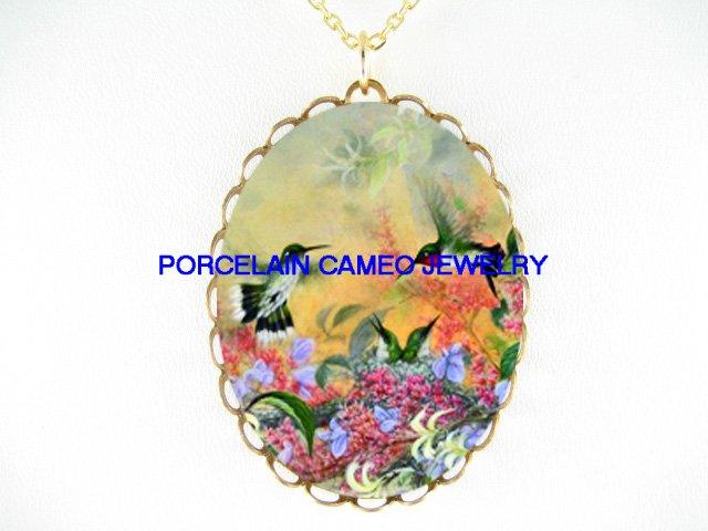4 HUMMINGBIRD FAMILY CAMEO PORCELAIN PENDANT NECKLACE