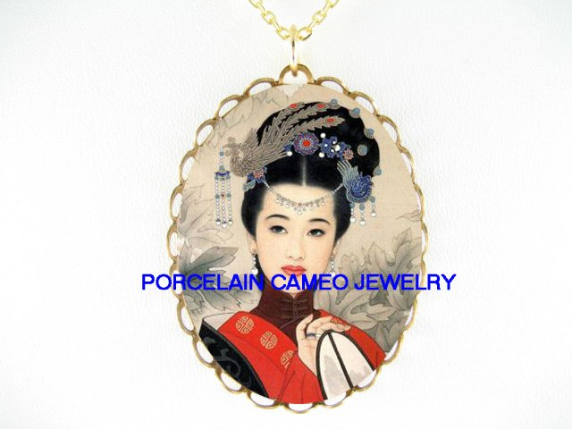 ORIENTAL LADY WITH FAN  *CAMEO PORCELAIN NECKLACE