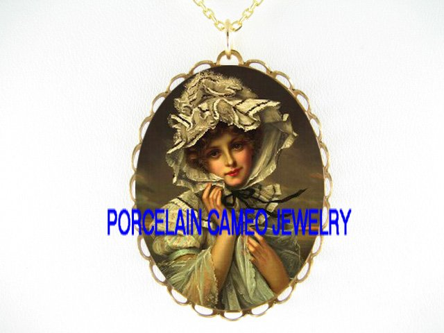 VICTORIAN LADY LACE HAT *CAMEO PORCELAIN NECKLACE