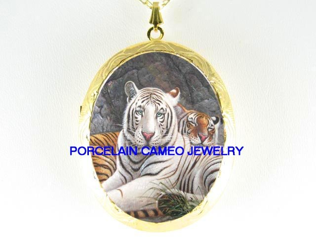 2 WHITE SIBERIAN TIGER CUDDLING PORCELAIN CAMEO LOCKET NECKLACE