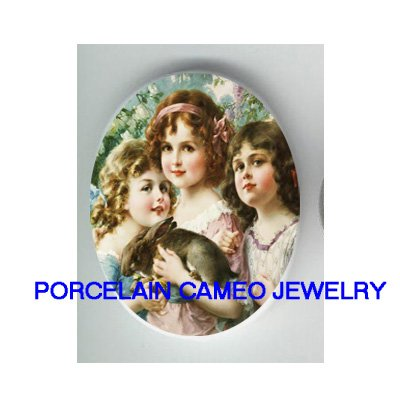 3 VICTORIAN SISTERS HOLDING RABBIT BUNNY * UNSET CAMEO PORCELAIN CABOCHON