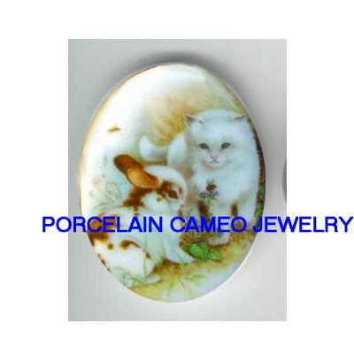 WHITE KITTY CAT WITH RABBIT BUNNY BEE* UNSET CAMEO PORCELAIN CABOCHON