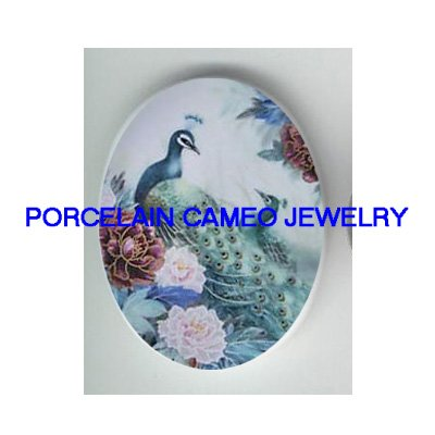 2 PEACOCK CHINESE PEONY UNSET CAMEO PORCELAIN CABOCHON