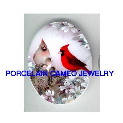 4 CARDINAL BIRD FAMILY NEST  DOGWOOD* UNSET CAMEO PORCELAIN CABOCHON