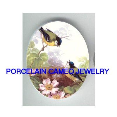 2 ROBIN BIRD NEST EGG DOGWOOD UNSET CAMEO PORCELAIN