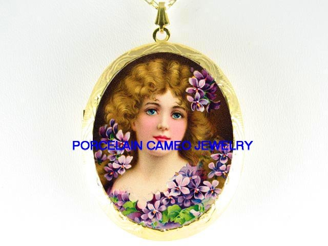 VICTORIAN LADY WITH VIOLET*  CAMEO PORCELAIN LOCKET NECKLACE