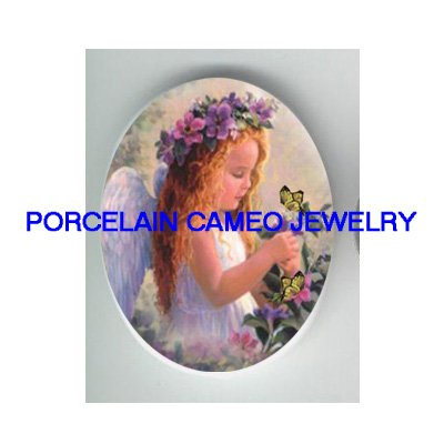 PANSY ANGEL BUTTERFLY UNSET PORCELAIN CAMEO CABOCHON