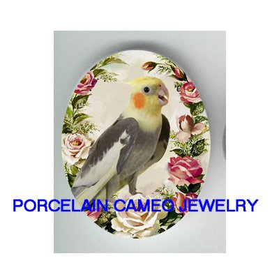 COCKATOO COCKATIEL BIRD ROSE   * UNSET CAMEO PORCELAIN CABOCHON