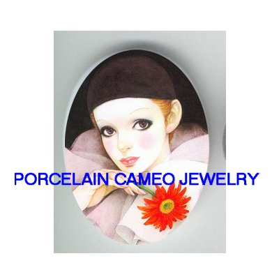 FRENCH PIERROT MIME DAISY UNSET PORCELAIN CAMEO CABOCHON