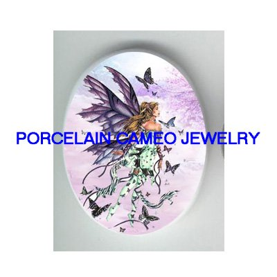 PURPLE BUTTERFLY FAIRY UNSET CAMEO PORCELAIN CABOCHON