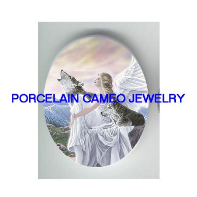 ANGEL 2 WOLF MOUNTAIN  UNSET CAMEO PORCELAIN CABOCHON