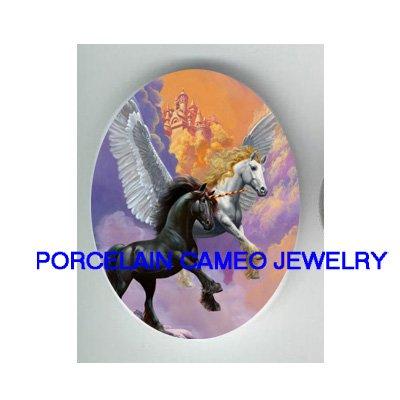 2 UNICORN PEGASUS HORSE UNSET CAMEO PORCELAIN CABOCHON