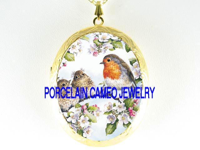 3 ROBIN BIRD FAMILY APPLE BLOSSOMS  *  CAMEO PORCELAIN LOCKET NECKLACE