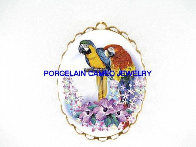 2 MACAW PARROT BIRD HIBISCUS*  CAMEO PORCELAIN PENDANT/PIN BROOCH
