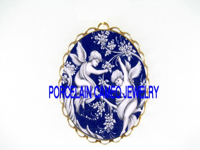2 TOILET BLUE VICTORIAN ANGEL CHERUB*  CAMEO PORCELAIN PENDANT/PIN BROOCH