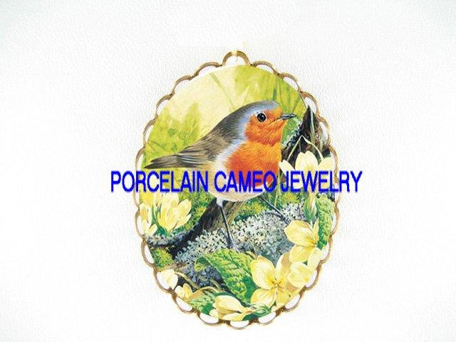 BABY ROBIN BIRD APPLE BLOSSOM CAMEO PORCELAIN PIN PENDANT