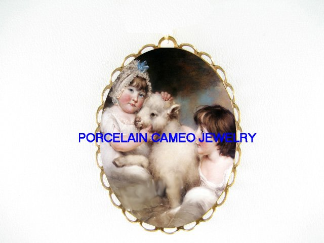 2 VICTORIAN CHILD GIRL WITH BABY LAMB SHEEP *  CAMEO PORCELAIN PENDANT/PIN BROOCH