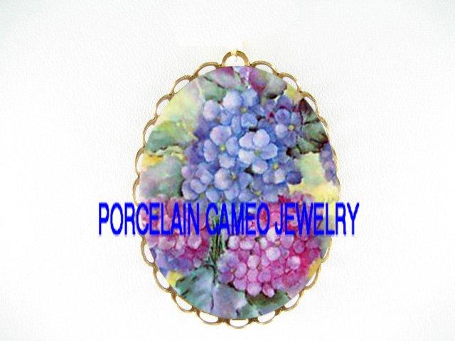 PINK PURPLE HYDRANGEA*  CAMEO PORCELAIN PENDANT/PIN BROOCH