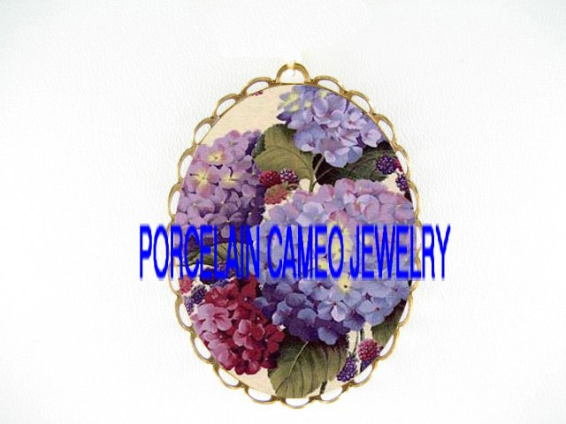 PURPLE HYDRANGEA WITH BERRY*  CAMEO PORCELAIN PENDANT/PIN BROOCH