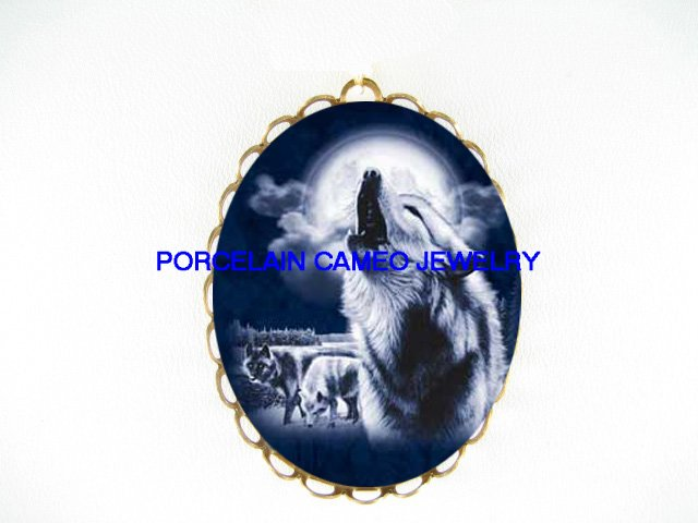 3 BLUE WOLF HOWLING MOON*  CAMEO PORCELAIN PENDANT/PIN BROOCH