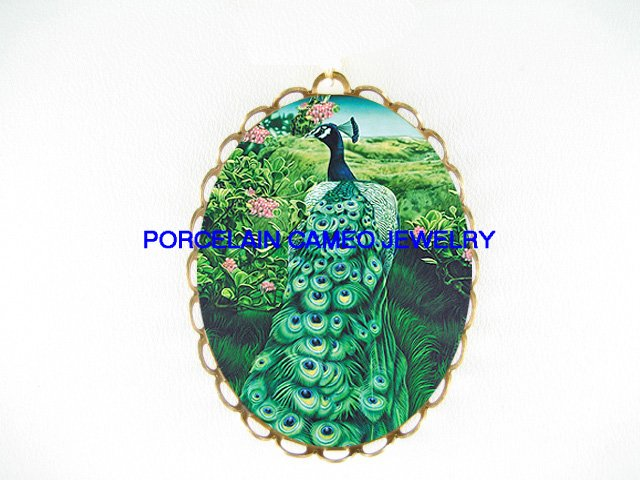 GREEN  PEACOCK BIRD ROSE *  CAMEO PORCELAIN PENDANT/PIN BROOCH