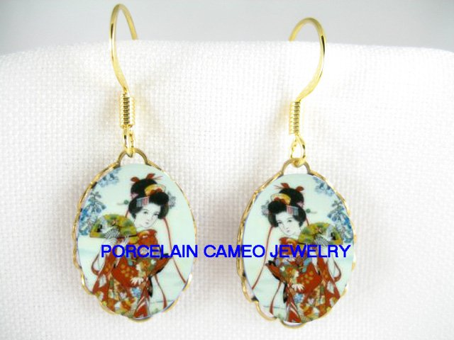 JAPANESE GEISHA WITH FAN PORCELAIN CAMEO EARRINGS