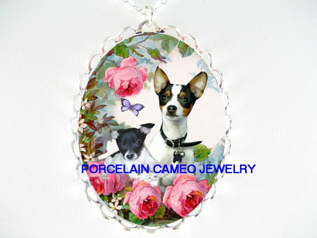 TOY FOX TERRIER MOM BABY ROSE BUTTERFLY *  CAMEO PORCELAIN NECKLACE