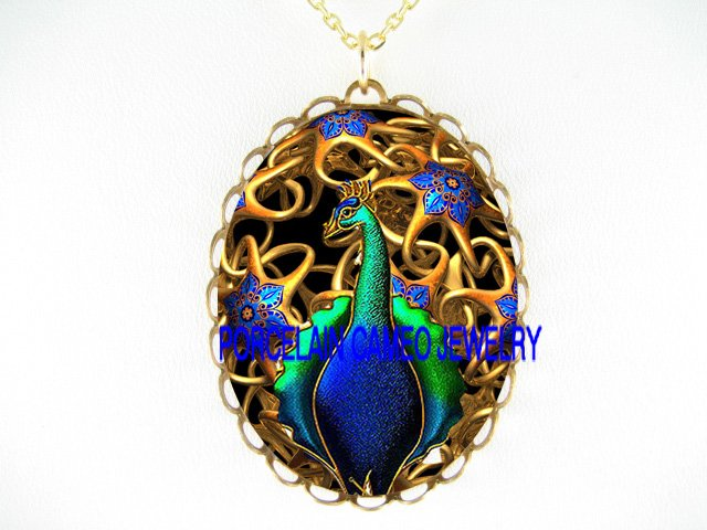 ART DECO NOUVEAU GOLDEN PEACOCK  PORCELAIN CAMEO NECKLACE