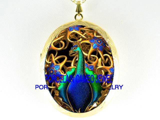 ART DECO NOUVEAU GOLDEN PEACOCK PORCELAIN CAMEO LOCKET NECKLACE