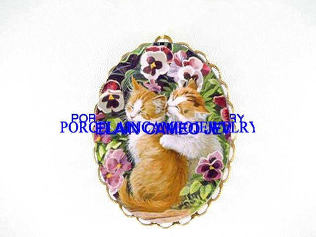 2 KISSING KITTY CAT PANSY CAMEO PORCELAIN PIN PENDANT