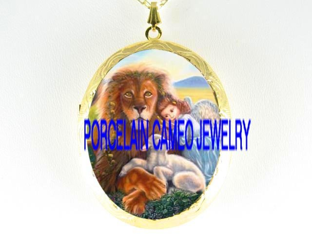 RELIGIOUS ANGEL LION AND LAMB *  CAMEO PORCELAIN LOCKET NECKLACE