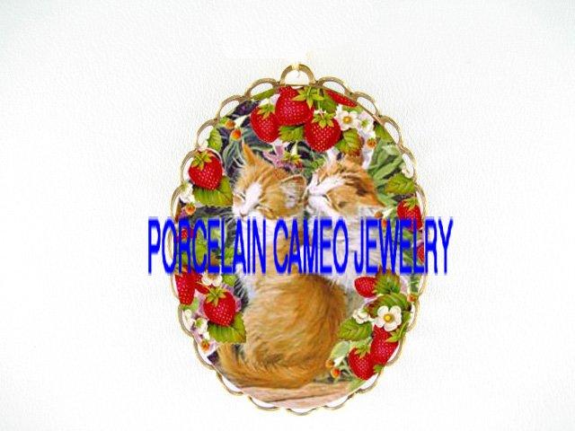 2 KISSING KITTY CAT  STRAWBERRY CAMEO PORCELAIN PIN PENDANT