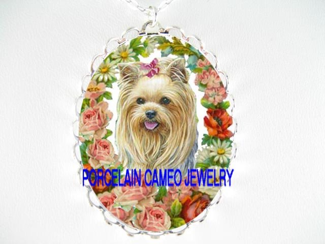 YORKSHIRE TERRIER DOG WITH VICTORIAN ROSE  *  CAMEO PORCELAIN NECKLACE