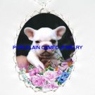 FRENCH BULLDOG WITH PINK ROSE  *  CAMEO PORCELAIN NECKLACE