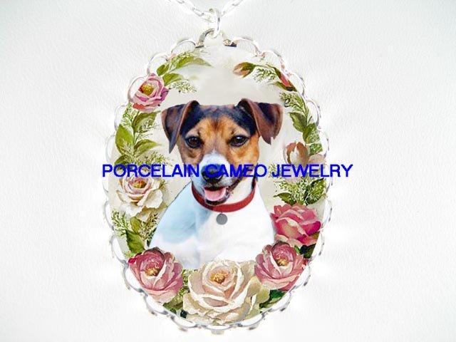 JACK RUSSELL DOG PINK ROSE PORCELAIN CAMEO NECKLACE