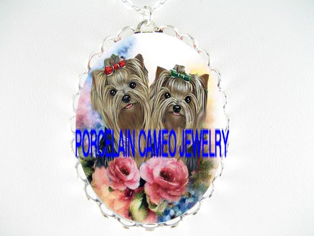 2 YORKSHIRE YORKIE DOG ROSE FORGETMENOT CAMEO NECKLACE