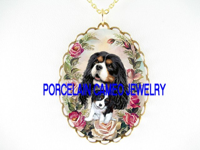 CAVALIER KING CHARLES SPANIEL MOM CUDDLE PUPPY ROSE NECKLACE