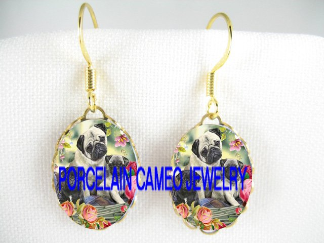 3 PUG DOG MOM 2 PUPPY ROSE * CAMEO PORCELAIN EARRINGS