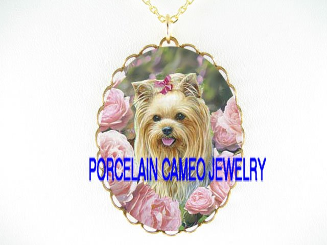 YORKSHIRE TERRIER DOG ROSE*CAMEO PORCELAIN NECKLACE