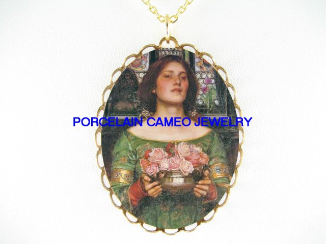 JOHN WATERHOUSE LADY HOLD ROSE FLOWER *CAMEO PORCELAIN NECKLACE
